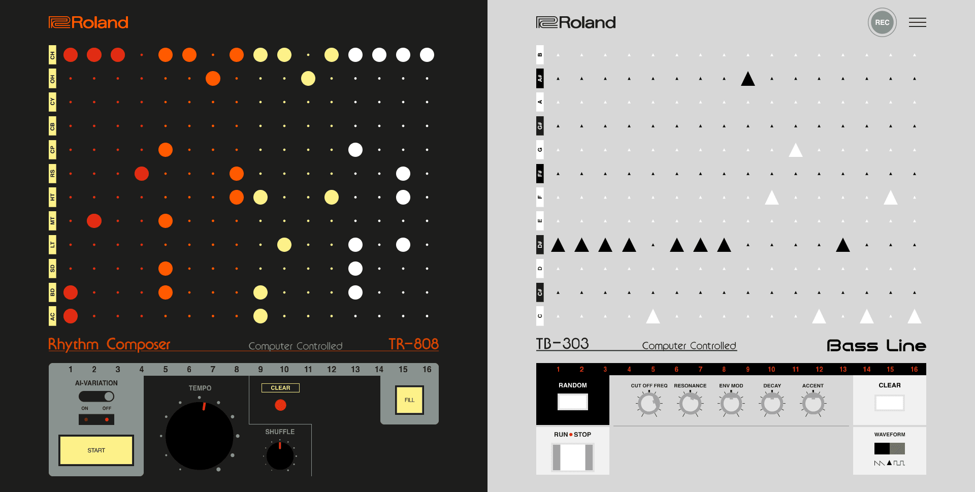 808303.studio is a free online groovebox with the Roland TR-808 and TB-303