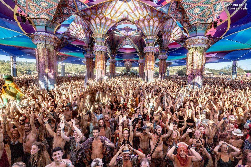 Massive crowd shot at the Dance Temple of Boom Festival 2018