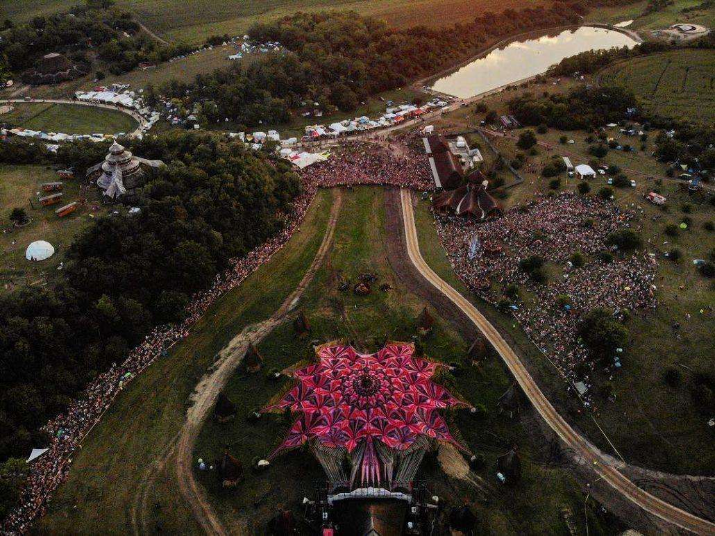 An aerial drone shot of Ozora Festival 2018 in Hungary