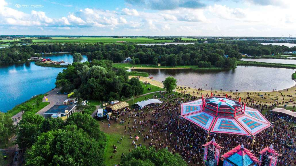Drone shot of Psy-Fi Festival in the Netherlands